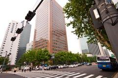 Seoul South Korea street with zebra crossing royalty free stock photo
