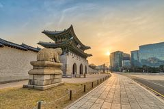Seoul South Korea. Seoul sunrise city at Gwanghwamun Gate, Seoul, South Korea Translation : Gwanghwamun name of the gate Stock Photography