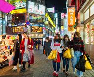 Myeongdong shopping district in seoul Stock Photos