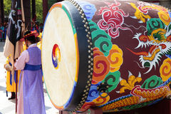 Seoul, South Korea, traditional changing of the royal guard drum Royalty Free Stock Photos