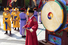 Seoul, South Korea, traditional changing of the royal guard drum Stock Photo