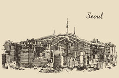 Seoul Special City South Korea vintage sketch. Seoul Special City architecture South Korea vintage engraved illustration hand drawn sketch Stock Photos