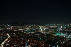 Seoul spot lights. Night city life from Seoul. Suitable for a futuristic o night view for a modern city Stock Image