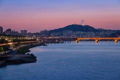 Seoul stad och Han River Royaltyfri Foto
