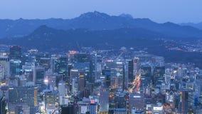 Seoul stad och Lotte Tower, Sydkorea Tid schackningsperiod 4K arkivfilmer