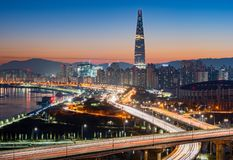 Seoul stadshorisont, Sydkorea royaltyfri fotografi