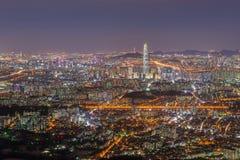 Seoul-Stadt-Skyline-Ansicht zum Stadtzentrum von Seoul, Südkorea stockfotografie