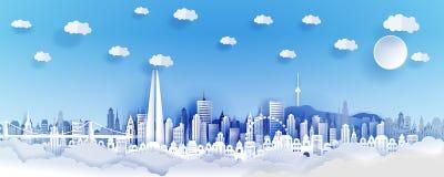 Seoul-Stadtkonzept, Korea Papierkunststadt auf Rückseite mit Gebäuden, Türme, Brücke, Wolken stockfotos