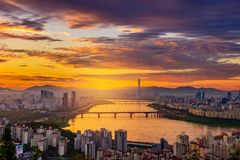 Seoul-Stadtskyline Stockbild