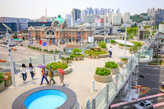 Seoul station seen from Seoullo 7017 in South Korea Stock Image