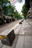 Seoul street with national artwork stones stock photography