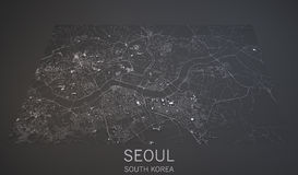 Seoul streets and buildings 3d map, South Korea. Seoul streets and buildings map satellite view on black, South Korea stock illustration