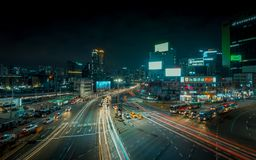 Seoul streets long exposure with cars royalty free stock photo