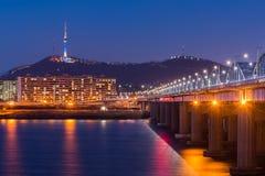 Seoul Subway and Bridge at Hanriver in Seoul, South korea. Stock Photo