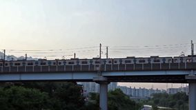 Seoul subway train is running on the bridge