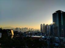 Seoul at Sunset. The sun sets over Seoul, Soith Korea. Beautiful gradient Royalty Free Stock Photos