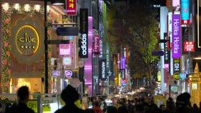 Seoul Sydkorea - Januari 2016: Myeong-Dong shoppingområde lager videofilmer