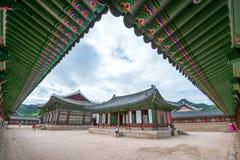 SEOUL SYDKOREA - JULI 17: Gyeongbokgung slott det bästa Arkivbilder