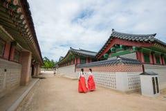 SEOUL SYDKOREA - JULI 17: Gyeongbokgung slott det bästa Arkivfoto