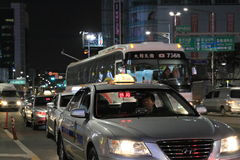 Seoul taxi and bus on the street Stock Image