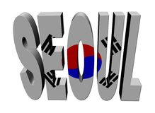 Seoul text with Korean flag Royalty Free Stock Image