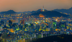 Seoul Tower and Downtown skyline in Seoul, South Korea royalty free stock photo