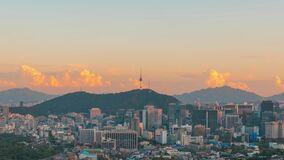 Seoul tower in the financial district at twilight.