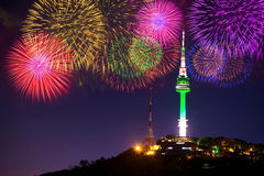 Seoul tower and firework. Seoul tower and firework in korea Stock Image