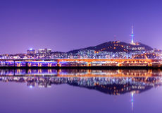 Seoul Tower. Namsan Mountain and Seoul Tower with reflections Royalty Free Stock Photo