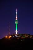 Seoul tower at night.Namsan Mountain in korea. Stock Images