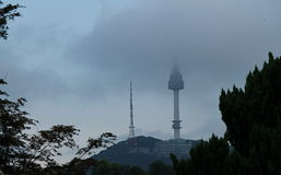 Seoul Tower. View of Seoul Tower in early morning framed by trees Stock Photography