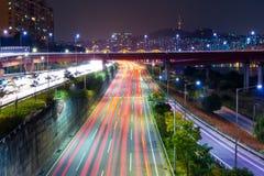 Seoul traffic at night Royalty Free Stock Image
