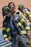SEP 11, 2011 - Firefighter Memorial Stair Climb. September 11, 2011 - Lake Norman High school holds a memorial stair climb. On the morning of September 11th fire stock photo