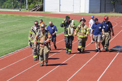SEP 11, 2011 - Firefighter Memorial Stair Climb. September 11, 2011 - Lake Norman High school holds a memorial stair climb. On the morning of September 11th fire Stock Photos