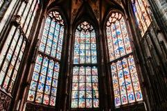 Extraordinary stained glass window of Evangelical Church, Munster Bern, Switzerland. SEP 27, 2013 Bern, Switzerland - Extraordinary beautiful stained glass stock photography