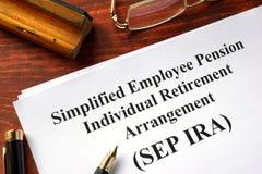 SEP IRA. Simplified Employee Pension Individual Retirement Arrangement (SEP IRA royalty free stock image