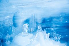 Jungfrau Ice Palace, ice cave under Jungfrau peak with carved ice sculptures, Switzerland royalty free stock images