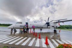 20,2017 sep kwam passagier bij Basco-luchthaven, Batanes van Ma aan Royalty-vrije Stock Foto's