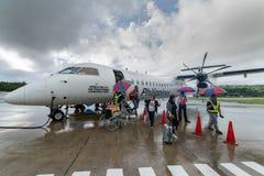 20,2017 sep kwam passagier bij Basco-luchthaven, Batanes van Ma aan Stock Fotografie