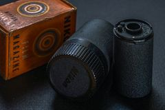 Vintage Nikon metal Reloadable 35mm Film Cartridge Canister.Kalyan near Mummbai Maharashtra. 24 Sep 2017 Vintage Nikon metal Reloadable 35mm Film Cartridge royalty free stock photography
