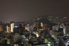 9 Sep 2016 widok Nagasaki miasto przy nocą, Japonia Obrazy Stock