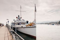 Vintage ferry ship in Lake Zurich for sightseeing tour stock images