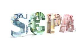 SEPA - Única área dos pagamentos do Euro com euro- moeda Fotografia de Stock