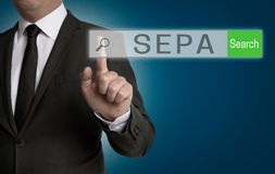 Sepa internet browser is operated by businessman Royalty Free Stock Photography