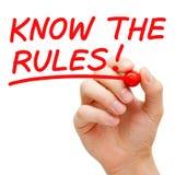 Sepa las reglas fotos de archivo