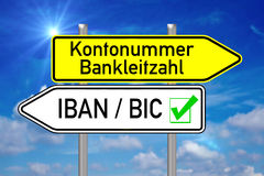 SEPA. Signpost with the german words account number and IBAN BIC over blue sky Royalty Free Stock Images