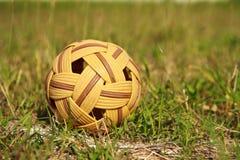 Sepak takraw ball. On green grass.Thailand game royalty free stock image
