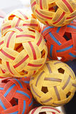 Sepak Takraw Balls. Thai ball game or Sepak Takraw Ball is traditionally played in Thailand and East Asia Stock Photo