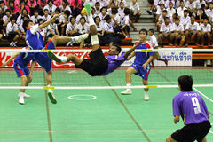 Sepak Takraw : Chonburigame Thailand. CHONBURI, THAILAND - December 16 : Sepak Takraw in Chonburi game Game competition among provinces in Thailand on December Stock Photography