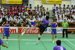 Sepak Takraw : Chonburigame Thailand. CHONBURI, THAILAND - December 16 : Sepak Takraw in Chonburi game Game competition among provinces in Thailand on December Royalty Free Stock Images